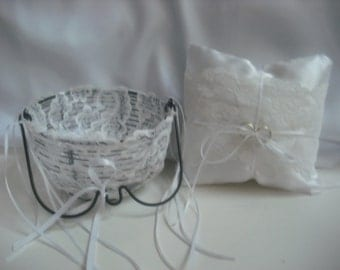 Sweet and petite white lace and satin country glam or shabby chic wedding ring pillow and matching flower girl basket.