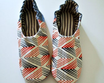 house shoes fabric slippers red white and blue indoor shoes upcycled denim geometric print slippers