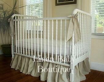 Natural Linen Baby Bedding Crib Bedding. Washed Linen Crib Skirt and 3 Bows. Gender Neutral Crib Set.