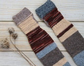 Hand knit arm warmers / urban rustic / cottage chic / earthy brown / burgundy red mix / rustic gray / tan beige / winter / mix match for her