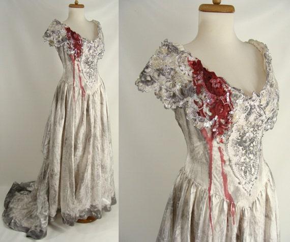 Upcycled Distressed Bloody Vampire Bride By Wardrobetheglobe
