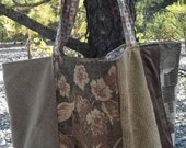 Rescued Futon Cover Sample Lined Brown Market Tote Shopping bag