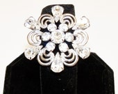 Vintage Brooch Rhinestones Silver Tone Abstract Flower Wedding Bridal Sash Bouquet Jewelry Jewellry Gift for Her