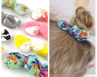 Fabric Knot Hair Clips - Choose Your Pattern - Baby Toddler Girl Alligator Clip or Pony Tail Elastic Fun Prints Jersey Knit Cotton Trendy