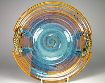 Blue bowl with handles