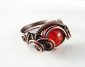 Wire Wrapped Ring Genuine Orange Agate Ring Dragon's Eye Ring Wire Wrapped Jewelry Copper Ring Size 7 Copper Jewelry Agate Jewelry