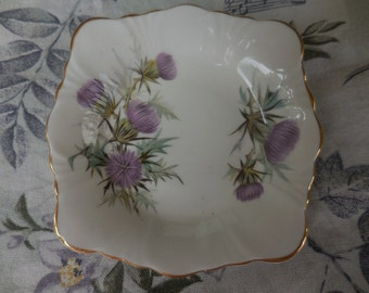 Vintage 1960s Royal Windsor Bone China White Square Dish With Purple Thistle Scalloped Edges Cottage Shabby Chic
