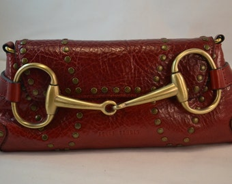 90s Deep Rust Wine Color Leather Convertible Purse Horsebit Handbag Pelle Studio Wilson Leather Clutch Birthday Gift for Her