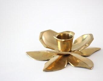 Brass Lotus Taper Holder, Candle Holder, Candlestick Holder