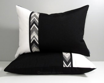 SALE - TWO Black White Pillow Covers, Pair of Decorative Chevron Outdoor Throw Pillow Cases, 2 Modern Sunbrella Cushion Covers