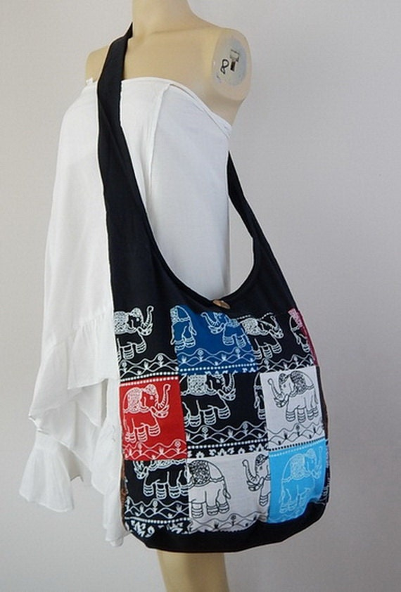 Patchwork Sling Cross Body Bag Purse Hippie Hobo Elephant Floral Print 100% Cotton with Lined OOAK Random Colors PPL