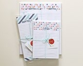 """Notepad Bundle Set of 3 - Meal Planner with Grocery List, 5x7"""" Notepad and Market List"""