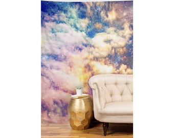Cosmic Wall Art. Wall Tapestry. Colorful Home Decor. Starry Night Sky Art. Clouds. Pastel. Pink. Blue. Orange Purple. Dorm Wall Decor. Girly