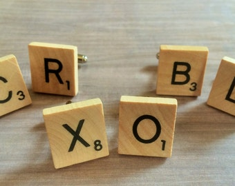 WOOD Scrabble Tile  CUFFLINKS / Initial Cufflinks / Mix and Match Letters / Groomsmen Gift / Writer Gift / Letter Cuff links / Gift Boxed