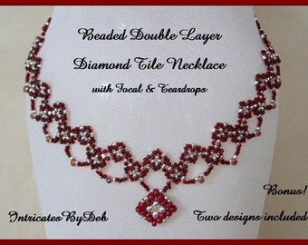 Tutorial Beaded Double Layer Diamond Tile Necklace with Focal & Teardrops - Beading Pattern, Beadweaving Instructions, PDF, Do It Yourself
