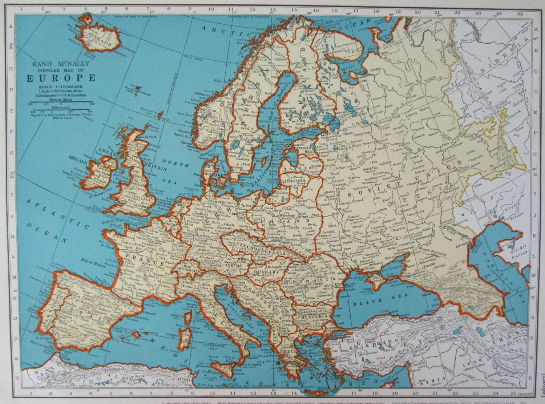 1938 EUROPE Map Pre WWII Era Original McNally Aqua EUROPEAN