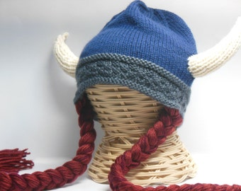 Knit Viking Hat, Viking Helmet Long Braids, Child Teen Viking Hat with Horns, Child Viking hat, Hat Red Braids, Halloween Costume Accessory