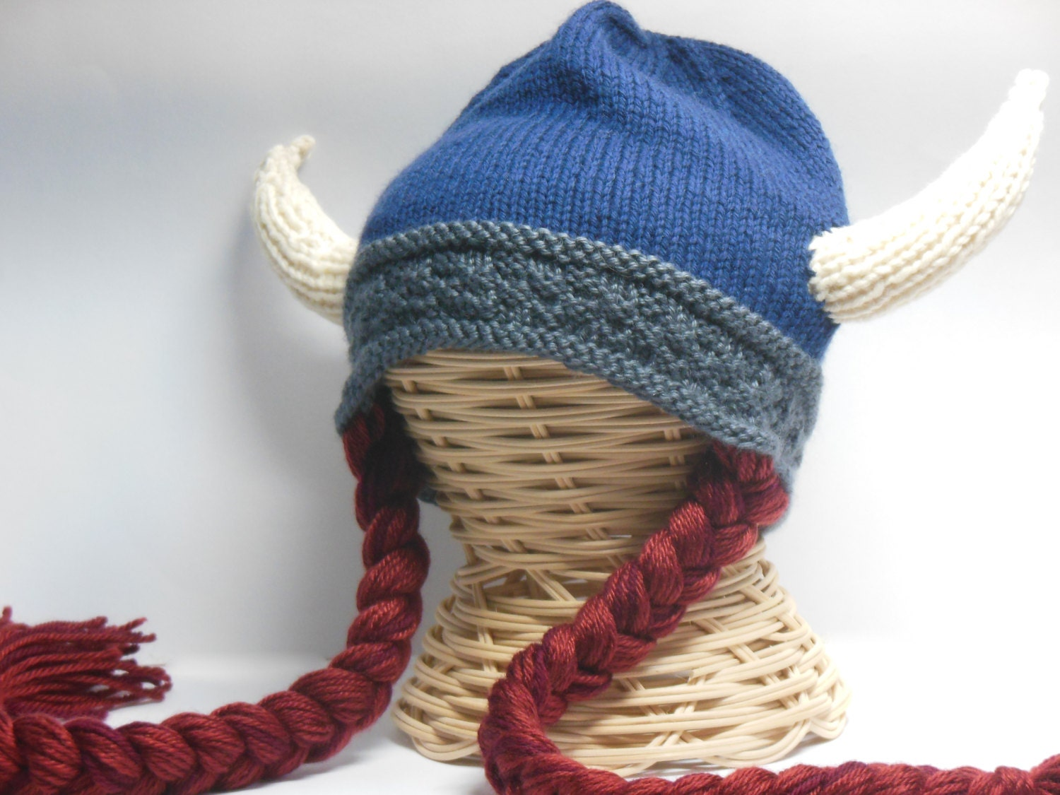 Knitting Patterns For Viking Hat : Knit Viking Hat Viking Helmet Long Braids Child Teen Viking
