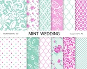Digital Paper mint, mint digital papers, wedding papers, shabby chic, mint and fushia, scrapbook supplies - 682