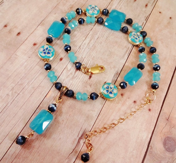 Blue Quartz and Blue Enamel Island Blue Necklace