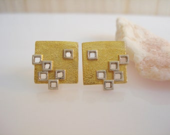 A pair of sterling silver 18k gold plated square stud earrings post earrings
