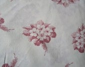 Vintage French Fabric Primroses Deep Pink Maroon Suitable for Pillows Patchwork Quilting, Lavender Bags Feedsack