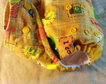 SassyCloth one size pocket diaper with Sesame street cotton print. Ready to ship.