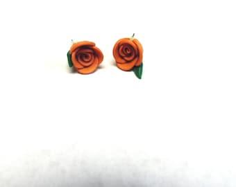 Deep Orange Brown Rose Flower Earrings Post