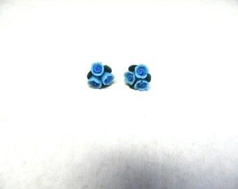 Blue Rose Flower Earrings Post