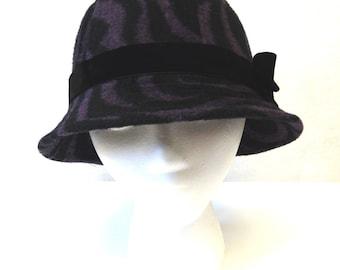 Purple Black Hat Cloche Ladies Millinery