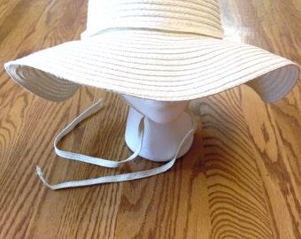 Silver White Wide Brimmed Hat Floppy Bridal Sun Gardening