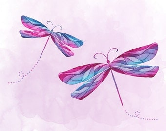 Pink, purple and blue dragonflies - 8x10 print