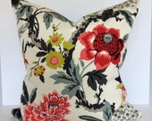 Floral Bird Decorative Pillow Cover in Candid Moment Ebony and Lace It Up Ebony Valance/Euro