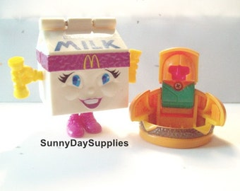 Vintage McDonalds Toys, Changeables, Transformers, 1980's, Kids Milk Carton and Junior Cheese Burger, Robot, 2 in Lot, Food Toys