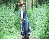 Unique upcycled blue velvet dress size 12/14
