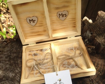 Mr And Mrs Rustic Wedding Ring Box  Romantic Country Chic  Alternative Ring Pillow