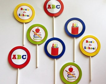 Back to School Party Circles Cupcake Toppers Printable - Instant Download - Back to School Collection