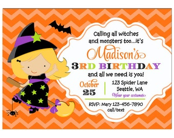 Girl's Halloween Birthday Party Invitation Printable or Printed with FREE SHIPPING - - ANY Hair Color- Flying Witch Collection