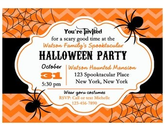 Halloween Invitation Printable or Printed with FREE SHIPPING - Halloween Spider Collection