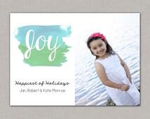 Watercolor Christmas Card, Christmas Photo Card, Beach Christmas Card