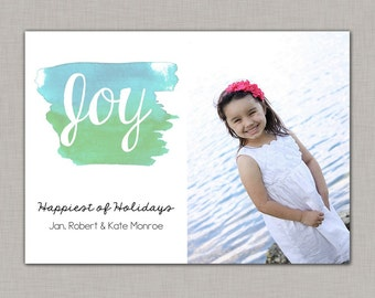 Watercolor Christmas Card, Christmas Photo Card, Beach Christmas Card