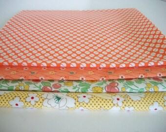 Fat Quarter Fabrics Bundle, 4 Marcus Fabrics, Quilting Sewing Fabric, Accent Fabric, Summer, Springtime, Orange Fabrics
