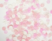 "Tissue Paper Confetti-Pink, Coral and White-1"" Circle-Party Confetti/ Wedding Decoration"