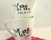 Mrs & Mrs LGBT Hers and Hers Coffee Mugs with FREE Personalized Wedding Date Shower Gift 2 Coffee Cups Bridal Shower Gift Wedding Gift