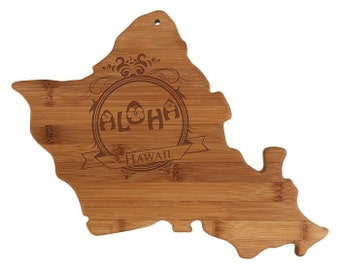 Personalized Hawaii Cutting Board - Hawaii Shaped Bamboo Cutting Board Custom Engraved - Wedding Gift, Couples Gift, Housewarming Gift