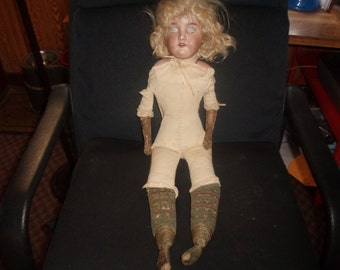 antique german bisque floradora doll armand marseille open mouth teeth with extra antique clothes