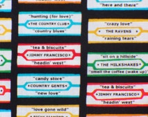 Diner Fabric / 1950s Diners Jukebox Songs / Retro Diners Fabric / By the Yard