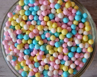 Pearlized Pastel Sugar Pearls Mix - 4mm, 2 oz - For Cupcakes - Cake Pops - Cookies - Baby Shower Edibles - Cakes - Desserts - Pastel Edibles