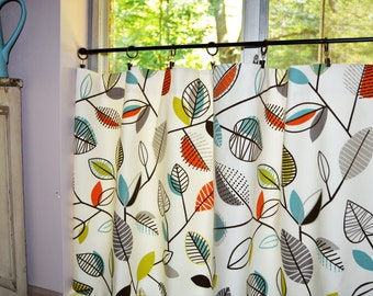Kitchen Curtains . Cafe Curtains . Covington Carson Fiesta Leaf Design . Leaves . FULLY Lined. 2 Panels  Beautiful Handmade by SeamsOriginal