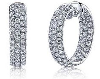 """1.65CT Diamond Inside Outside Hoops 14K White Gold 1/2"""" Tall"""